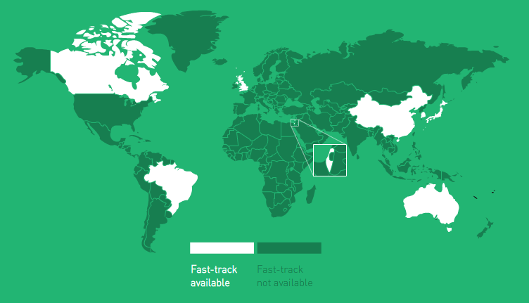 Countries with fast-track schemes.